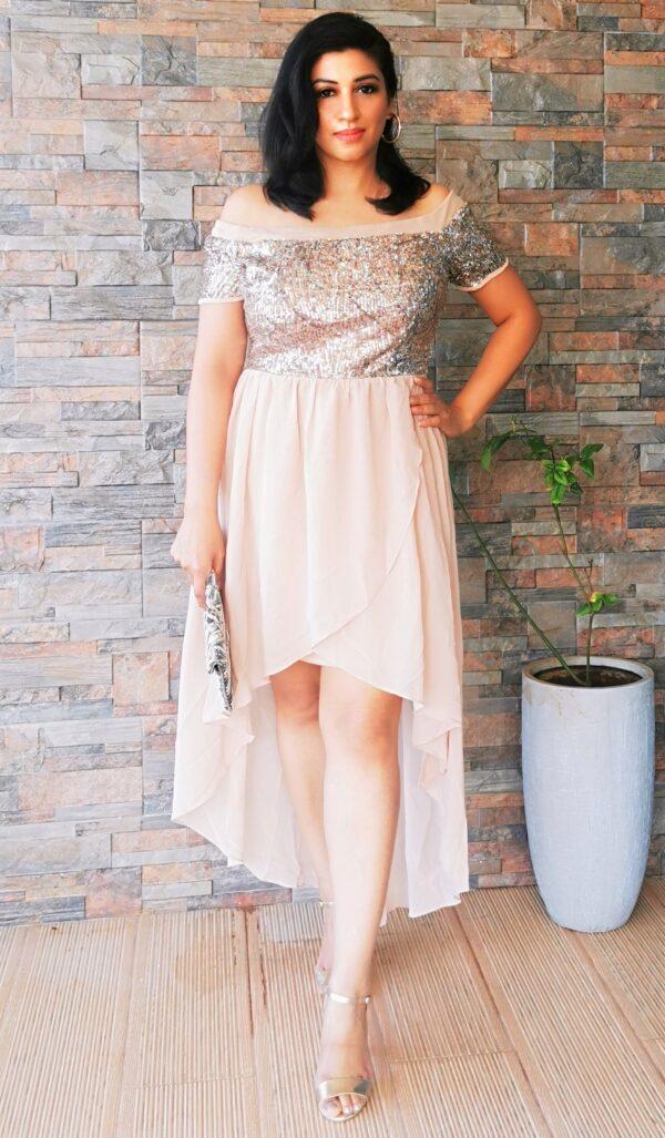 Gold and brown Bardot Sequin Top Dip Hem Dress