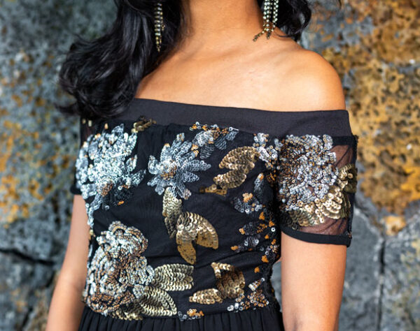 Bronze and Silver Flower Sequin Dip Hem Dress