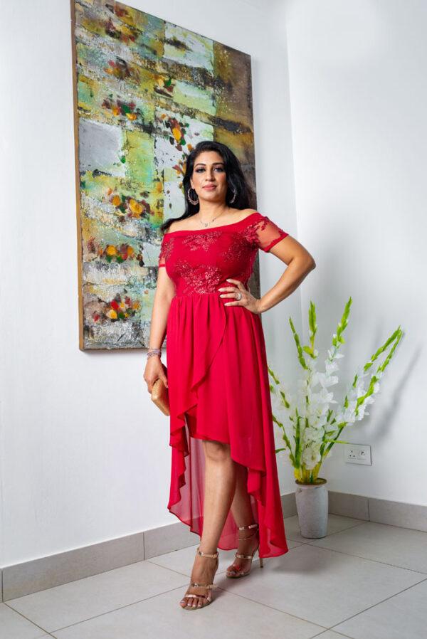 Deep Red Flower Sequin Dip Hem Dress